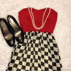 Red and checkered maxi dress This is a great night-out dress! You can really glam it up with jewelry and a cute hair-do! Like new, but no tags. Dresses Strapless