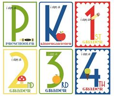Back to school printable grade signs.  Have the kids hold it up in the first day of school pics each year.