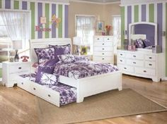 cute twin beds | Cute Purple White Girls Bedroom with Trundle Bed Ikea : Interior ...