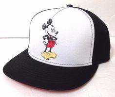new MICKEY MOUSE SNAPBACK HAT Black&White Flat-Bill High-Crown Men/Women/Teen #Disney #BaseballCap