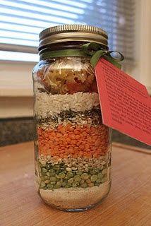 Friendship soup in a jar - Great idea for fund-raiser or #LottieMoon Christmas Offering. http://www.piebirds.org/2011/12/friendship-soup-mix-in-jar.html