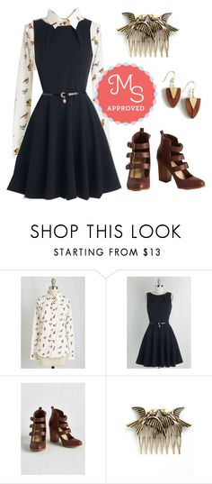 """""""Bird It All Before Top"""" by modcloth ❤ liked on Polyvore featuring Closet London, Mata Traders, women's clothing, women's fashion, women, female, woman, misses and juniors"""