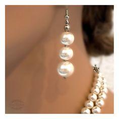 Bridal jewelry , Bridal Pearl necklace , Modern vintage inspired rhinestone pearl bridal statement, bridesmaid jewelry