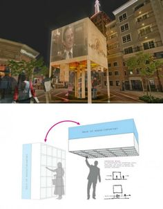"""The winner of DesignByMany challenge to design a pop-up retail store, RPGS's 'Jack Up The Box' features vertical retractable drawers within a raised store.  Shoppers pull down drawers. Truly """"out of the box thinking""""! popuprepublic.com"""
