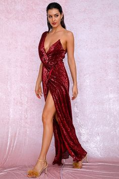 Buy Fleepmart Sexy Deep Red Deep V-Neck Whit Split Sequins Party Maxi Dress at fleepmart.com! Free shipping to 185 countries. 45 days money back guarantee.