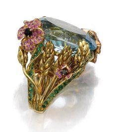 """""""Incroyables et merveilleuses"""" designed by Victoire de Castellane for Dior .Set with an oval aquamarine to a mount depicting flowers and wheat sheaves, set with circular-cut tsavorite garnets, pink sapphires, onyx and brilliant-cut diamonds signed Dior Jewelry Art, Antique Jewelry, Vintage Jewelry, Fine Jewelry, Fashion Jewelry, Jewelry Design, Gold Jewelry, Steel Jewelry, Jewelry Rings"""