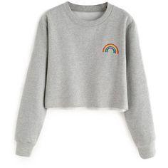 Rainbow Cropped Sweatshirt (85 BRL) ❤ liked on Polyvore featuring tops, hoodies, sweatshirts, shirts, sweaters, white crop shirt, white top, shirt crop top, rainbow sweatshirt and cropped shirts
