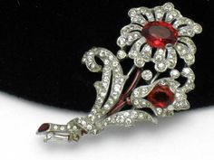 TRIFARI Philippe Vintage1940 Rhinestone Rhodium Ruby Glass Flower Clip Pin #CrownTrifari