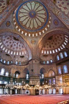 Blue Mosque. Istanbul, Turkey. I'm not a religious person but mosques are mesmerizing.