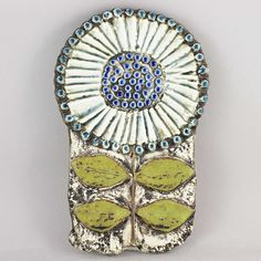 Lisa Larson (1963) Spectacular Sunflower Wall Plaque (White/blue)