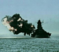 18 in salvo from 72000 ton super-battleship Yamato: neither she nor sister Musashi ever brought these formidable weapons to bear on surface targets, and both were sunk by sustained US Navy air attacks - the end of the 'big gun' era.