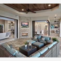 Good Morning! What's everyone up to today? Here in Michigan the weather is somewhat nice today, finally! We might be putting our patio furniture out! Check out this indoor outdoor home, beautifully designed by Norris Home Furnishings and Design... - Interior Design Ideas, Interior Decor and Designs, Home Design Inspiration, Room Design Ideas, Interior Decorating, Furniture And Accessories