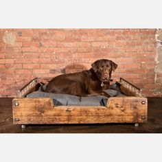 Furniture designer Richard Velloso wanted a bed for Olga, his 10-year-old chocolate Lab (whom his design company, Olga Guanabara, happens to be named after). What he cooked up is a snuggly enclave truly fit for a queen (or king.) Crafted out of steel and reclaimed Douglas fir wood