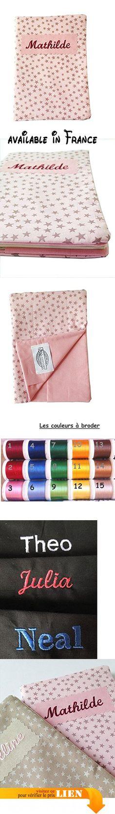 Protège carnet de santé bébé - coton rose imprimé d'étoiles mauves - broderie prénom.  #Guild Product #GUILD_BABY