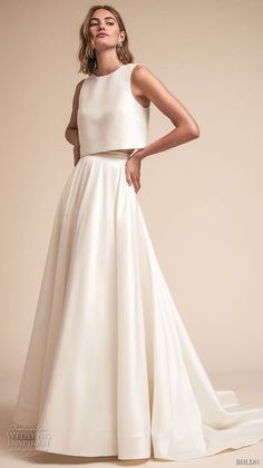 bhldn spring 2018 bridal sleeveless jewel neck simple clean bodice crop top a line wedding dress sweep train (11) mv -- BHLDN Spring 2018 Wedding Dresses