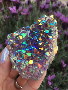 Angel Aura Amethyst Rainbow Quartz Cluster by TheCrystalFairies