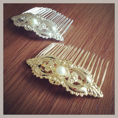 Vintage Hair Comb. Pearl and Gold Hair Comb. by LuluJewelryShop, $24.90
