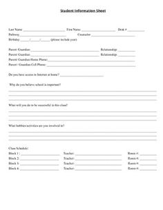 High School Student Information Sheet Make School, New School Year, First Day Of School, Student Information Sheet, School Information, High School Organization, Classroom Organization, Classroom Management, Classroom Ideas