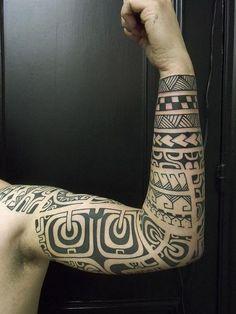 Polynesian/Marquesian Inspired Sleeve  Dan DiMattia, Calypso Tattoo, Liege, Belgium