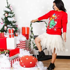 Spread the holiday cheer in this seasonal sweater by JapanLA Clothing  Company, featuring Hello Kitty and friends! 4f576351cb