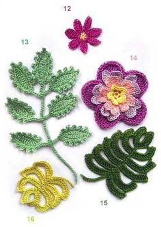 Flores e folhas em crochê