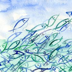 Fish are Jumping art print of absract watercolor painitng in blue turquoise teal and green, marine, coast, fathers day, Louis Armstron Watercolor Fish, Watercolor Paintings, Original Paintings, Koi Painting, Watercolours, Art Paintings, Fish Wall Art, Fish Art, Louis Armstrong
