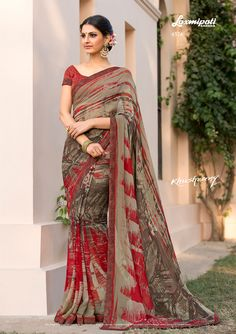 Dabble in Multicolor and Red Brocade Blouse along with Fancy Lace Border for your special occasions! Laxmipati Sarees, Indian Sarees, Saris, Grey Saree, Brocade Blouses, Women Wear, Ladies Wear, Casual Saree, Printed Sarees