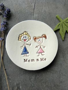 Excited to share the latest addition to my #etsy shop: Personalized Mom and Me Ceramic Ring Dish, Mother's Day Gift, Best Gift for Mom, Mom Daughter Pottery, Family Ceramic Ring Holder