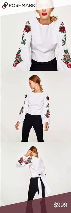 Fall Preview! Sevilla Embroidered Bell Sleeve Top Fall Preview! Sevilla Embroidered Bell Sleeve Top • The Ethnic Embroidered Trend Translates well into Fall 2017 with this gorgeous Spanish-inspired blouse with voluminous dramatic bell sleeves, floral embroidery and sash tie-back on a crisp white canvas. Can you say Olé?! Like this listing to be notified upon arrival! Zara Tops Blouses