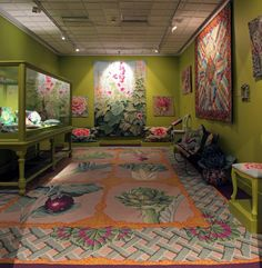 The 'Green Room' in the Kaffe Fassett exhibition at the American Museum (March - October 2014).