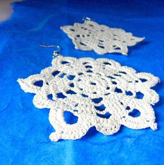 White earrings crochet  beach's collection by Leccio51 on Etsy, €12,00