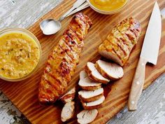Grilled Pork Tenderloin a la Rodriguez with Guava Glaze and Orange-Habanero Mojo Recipe : Bobby Flay : Food Network Barbecue Recipes, Grilling Recipes, Pork Recipes, Cooking Recipes, Guava Recipes, Recipies, Yummy Recipes, Grilling Ideas, Bbq Ideas
