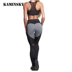 5b0b9b030136f Ladies Heart Pattern Mesh Splice Push Up Leggings Harajuku Workout Fitness  Elastic Sport Legging Women Pants Gothic Leggins