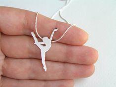 Dancer Necklace Pendant - Silver Ballerina Necklace - Ballet Dancer Silhouette - Ballet Jewelry - Hand Cut via Etsy