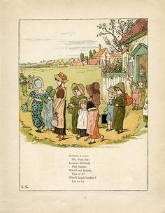 School is Over by Kate Greenaway Free Printable Vintage Storybook Page