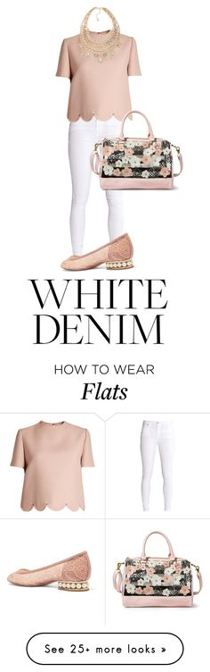"""Spring White Denim"" by pastelheart1997 on Polyvore featuring Valentino, ABS by Allen Schwartz, Nicholas Kirkwood, Betsey Johnson and whitejeans"