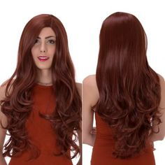 Impressive Long Side Parting Wavy Synthetic Wig (DARK AUBURN) in Synthetic Wigs   DressLily.com