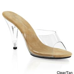 $36 A 4-inch lucite heel gives you a sexy lift. These pumps from Pleaser are finished with a transparent upper and a padded footbed.