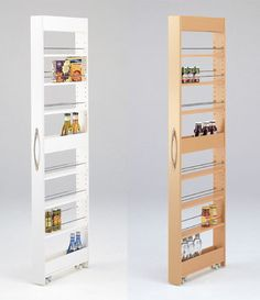 Skinny shelves - double wheels, stabilizing shelves top, middle and bottom