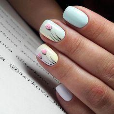 Pastel Nails: 35 Creative Pastel Nail Art Designs - Part 10 Spring Nail Art, Spring Nails, Summer Nails, Spring Art, Fall Nails, Diy Nails, Cute Nails, Pastel Nail Art, Pastel Blue Nails