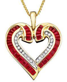 14k Gold Ruby (2 ct. t.w.) & Diamond (1/5 ct. t.w.) Heart Pendant $1,600.00  Sale $815.15