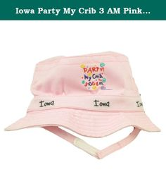 """Iowa Party My Crib 3 AM Pink Sun Bucket Hat Infant Baby Girl Adjustable Strap. This sun bucket hat features city name and """"Party at my crib at 3:00 a.m"""" embroidered on front. Adjustable chin strap. Crown tag stitched attached on side. Authentic Merchandise. Officially Licensed Product."""