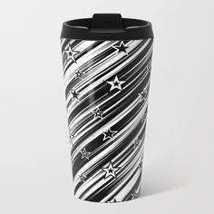 Star Struck! metal travel mug by #LLLCreations #society6 #mugs #travelmugs #stars #blackandwhite #gifts