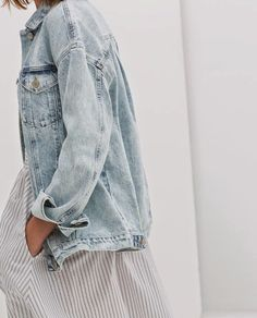 chambray jacket with a dress