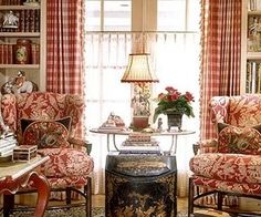 Red toile chairs & Roosters!