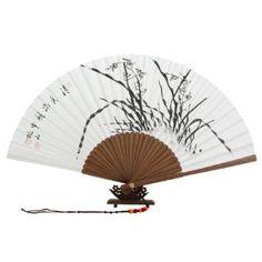 Abanico Blanco Pintado A Mano Desplegable en Papel de de Arroz de Morera Decoración Asia Oriental Arte de Bambú con Diseño de Tinta China Negra