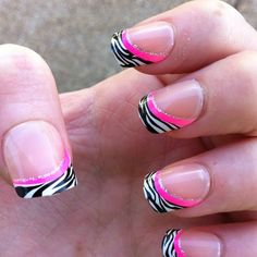 Zebra Nails don't like the pink, would look better with purple.