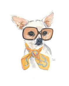 Watercolor PRINT Chihuahua Watercolor Painting, Vintage Sunglasses, Dog illustration, 8x10 Art Print