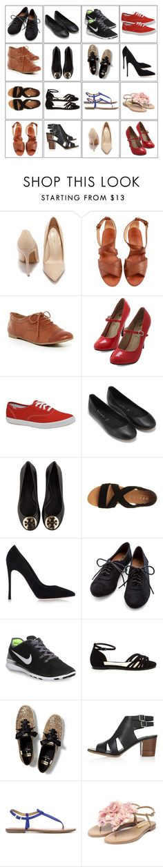 """""""4x4 shoes"""" by kist-42 ❤ liked on Polyvore featuring Shoe Republic LA, Calvin Klein, ALDO, Keds, Monsoon, Tory Burch, Office, Gianvito Rossi, NIKE and Topshop"""