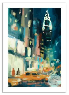 Across 42nd Street - a New York nocturne painting with a view of the Chrysler Building in palette of teal, turquoise and orange | Beverly Brown art prints + home decor accessories www.beverlybrown.com
